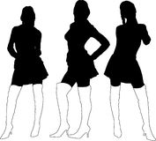 Ladies in boots. Three sexy young ladies in black silhouette with thigh high boots on Royalty Free Stock Images