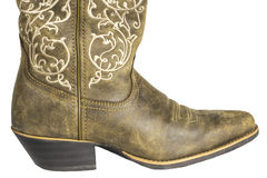 Ladies Brown Western Cowboy Boot Royalty Free Stock Photos