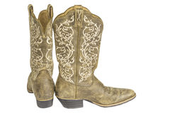 Ladies Brown Western Cowboy Boots Royalty Free Stock Images
