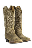 Ladies Brown Western Cowboy Boots. A pair of brown ladies coyboy western boots isolated on a white background Stock Photo