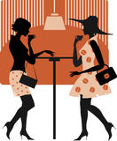 Ladies at cafe. Vector illustration of two retro style ladies in cafe Vector Illustration