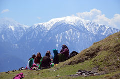 Ladies chatting outdoor. Ladies chatting and enjoying sunlight on the hillside, Shimla, Himachal Pradesh, India, Asia Royalty Free Stock Image