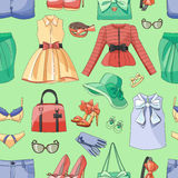 Ladies Clothing and Accessories pattern. Ladies Clothing and Accessories colorful pattern. Vector illustration, EPS 10 stock illustration