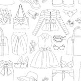 Ladies Clothing and Accessories pattern. Ladies Clothing and Accessories colorful pattern. Vector illustration, EPS 10 vector illustration