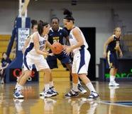 Ladies college basketball pass. VILLANOVA, PA - DECEMBER 9: Villanova University women's basketball guard Devon Kane (#22) hands the ball off to Jesse Carey Stock Images