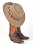 Ladies Cowboy Boots and Hat. Royalty Free Stock Photos