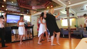 Ladies dancing  in cruise trip - Greece stock footage