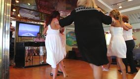 Ladies dancing and enjoy in cruise trip - Greece stock video footage