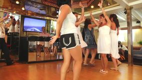 Ladies dancing and enjoy in cruise trip - Greece stock video