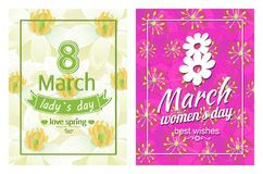 Ladies Day Love Spring 8 March Posters Text Flower. Ladies day love spring 8 March posters with text dedicated to International holiday, decorated by heart and stock illustration