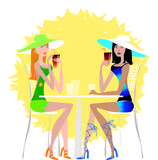 Ladies drinking cocktail. Two young pretty ladies drinking cold drink on the beach Royalty Free Illustration