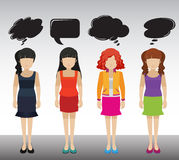 Ladies with empty callouts. Four ladies with empty callouts Stock Photos