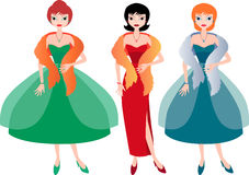 Ladies in evening dresses Stock Photography