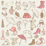 Ladies Fashion and Accessories doodle. Collection - hand drawn in Royalty Free Stock Photography