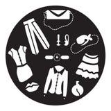 Ladies fashion in circle. Ladies icons black and white royalty free illustration