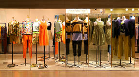 Ladies fashion clothes boutique. Boutique with fashion clothing for ladies on display Stock Image
