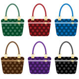 Ladies fashion handbags set. In 6 colors. Isolated on white Stock Photos