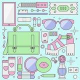 Ladies fashion objects flat illustration Royalty Free Stock Images
