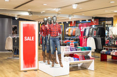 Ladies Fashion Sale. Sale at ladies fashion department and mannequin display Stock Photo