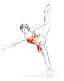 Ladies figure skating. Hand drawn sketch royalty free illustration