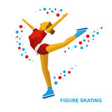 Ladies Figure Skating. Cartoon skating girl training. Ice show. Stock Image