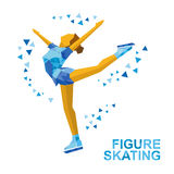Ladies Figure Skating. Cartoon skating girl training. Ice show. Winter sports - Ladies Figure Skating. Cartoon skating girl training. Ice show. Flat style Stock Photos