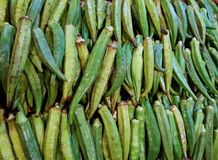 Ladies finger stack in vegetable market for sale Royalty Free Stock Images