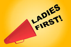 Ladies First concept. 3D illustration of LADIES FIRST! title flowing from a loudspeaker Stock Photos