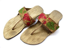 Ladies Footwear. A pair of beautifully designed indian footwear with hand embroidery Royalty Free Stock Photo