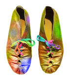 Ladies fun rainbow shoes Stock Images