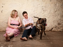 Ladies with Funny Dog Stock Photo