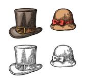 Ladies and gentlemen hat. Vector color vintage engraved illustration. Isolated on a white background Stock Images