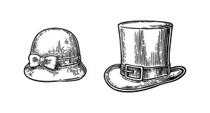 Ladies and gentlemen hat. Vector vintage engraved illustration. Isolated on a white background Stock Photo
