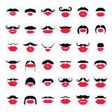 Ladies and gentlemen picture. Lips and mustaches seamless pattern. Royalty Free Stock Images