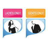 Ladies only and gents only. Ladies and gents only vector signets Stock Images