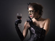 Ladies with a glass of red wine. stock photos