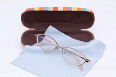 Ladies glasses and case. With glasses cleaning cloth Stock Images