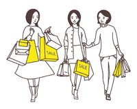 Ladies go down the street with shopping bags vector illustration