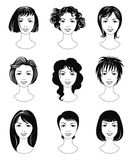 Ladies haircuts. Set of various women haircuts Stock Images