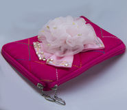 LADIES HAND POUCH. Ladies Stylish Hand Pouch pink colour Royalty Free Stock Photo