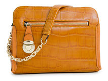 Ladies handbag. A light brown ladies handbag,  over white Stock Image
