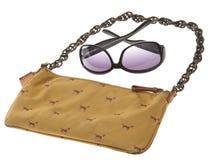 Ladies Handbag with Black Sunglasses Royalty Free Stock Images