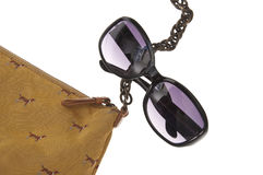 Ladies Handbag with Black Sunglasses Stock Photo