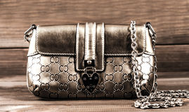 Ladies handbag with a chain of genuine leather Royalty Free Stock Images