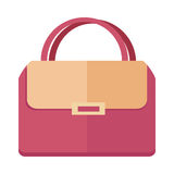 Ladies handbag in flat style. Female bag isolated. Ladies handbag in flat style. Female handbag isolated on white background. Elegant ladies two colored bag Stock Photo
