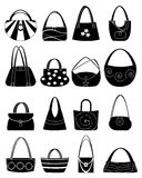 Ladies Handbag Icons Set Stock Images