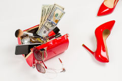 Ladies handbag and shoes. Royalty Free Stock Photo