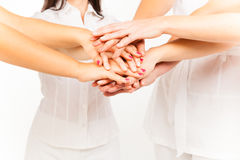 4 Ladies` Hands Stock Photo