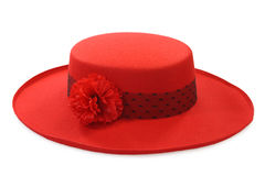 Ladies hat. Red ladies hat isolated on white background Royalty Free Stock Photo