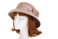 Ladies hat. A 1940s style ladies hat on a manequin head isolated on white Royalty Free Stock Photos